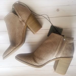 NWT Taupe Perforated Ankle Boots with Heel